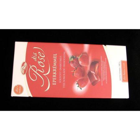 Diabetikus tejcsokoládé, eperkrémmel töltött, Rose 100 g